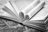Black and white  love heart in a book — Stock Photo