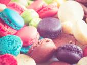 french colorful macarons  with filter effect retro vintage style — ストック写真
