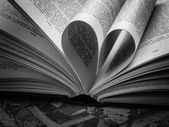 Black and white  love heart in a book — Foto Stock