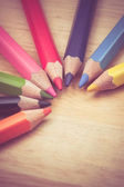 Color pencils old retro vintage style — Stock Photo
