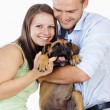 Portrait of a Happy Young Couple with a Dog. — Stock Photo