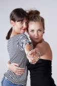 Two Young Female Friends Dancing Tango — Stock Photo