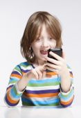 Boy Reading Text Message on Mobile Phone  — Stock Photo