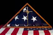American Flag in Remembrance Box — Stock Photo
