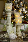 Holiday Candles with Christmas Tree — Stock Photo