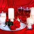 Romantic Image of Wine, Red Roses and Candles — Stock Photo #61646199