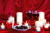 Valentine's, Candles and Chocolates — Stock Photo