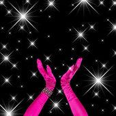 Square Black Fuchsia Background Hands Celebrating — Stock Photo