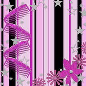 Girly Background, Combs, Stars, Flowers — Foto Stock
