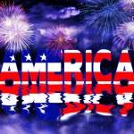 Patriotic Illustration America and Fireworks — Stock Photo #77239904