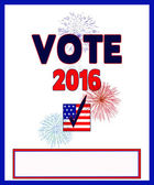 VOTE 2016 Poster/ Fireworks — Stock Photo