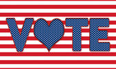 USA Elections Vote Banner with Heart replacing '0' — Stock Photo