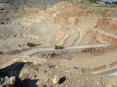 Dumper in Pilaroscia career fluxing limestone — Stock Photo
