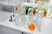 Test tubes and flasks in the chemical laboratory — Foto de Stock