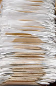Old paper stacks close-up — Stock Photo