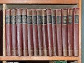 Livros em uma prateleira — Fotografia Stock