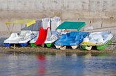 Pedalos on beach in Crimea — Stock Photo