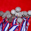 Medals with tricolor ribbons — Stock Photo #72805353