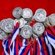 Medals with tricolor ribbons — Stock Photo #72805383