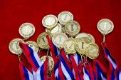 Medals with tricolor ribbons — Stock Photo