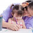 Mother with child girl draw and paint together — Stockfoto #63171059