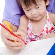 Mother with child girl draw and paint together — Stockfoto #63184765