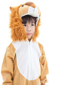 Little lovely asian boy costumed like a lion and looking ahead — Stock Photo