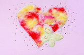 Heart butterfly fluff and sequin — Stock Photo