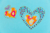 Two heart fluff and sequin — Stock Photo