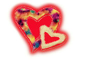 Red heart fluff and sequin — Stock Photo