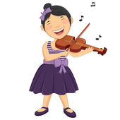 Vector Illustration Of A Little Girl Playing Violin — Stock Vector