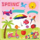 Set of Spring Elements and Illustrations — Stock Vector
