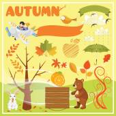 Set of Autumn Elements and Illustrations — Stock Vector