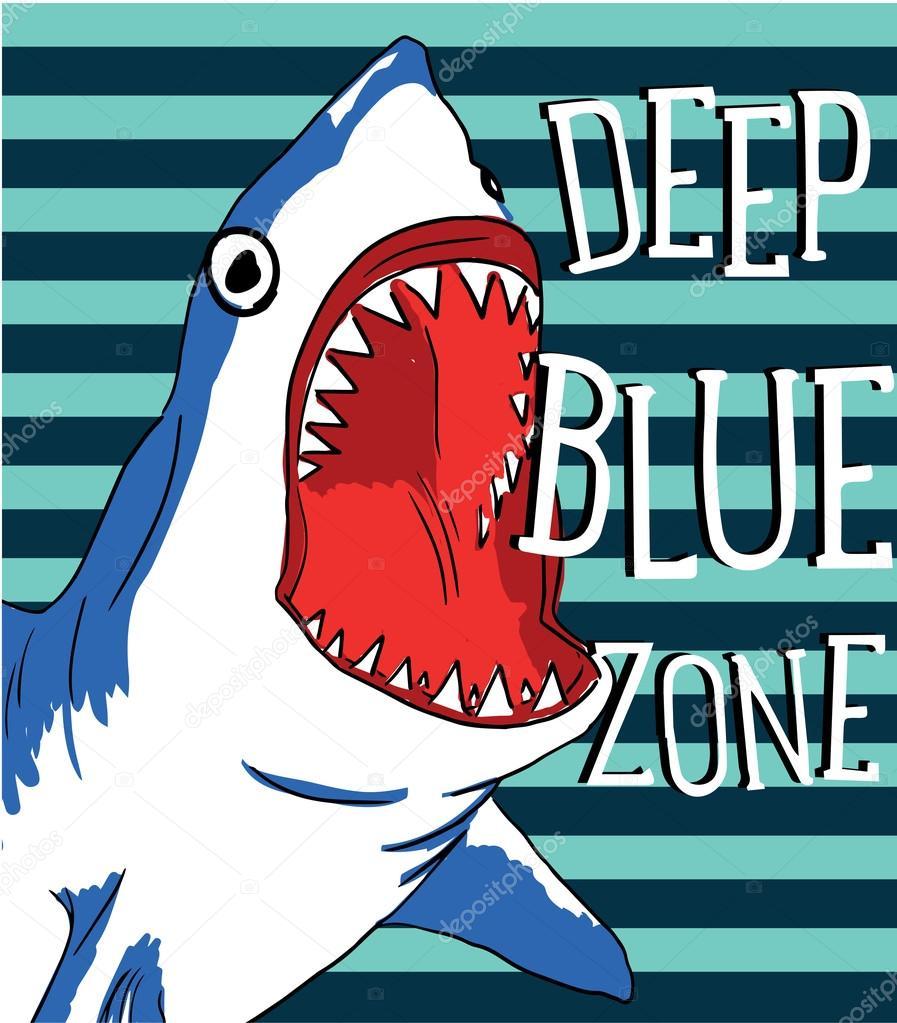 危险鲨鱼颌骨在蓝色的深水区,矢量图– 图库插图