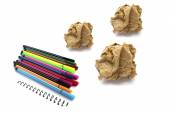 Papers crumple ball and color pen on white background — Stock Photo