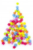 New Year's fur-tree - Little Star confetti on a white background — Stock Photo
