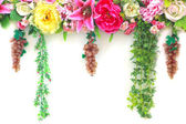 Brightly colored artificial flowers — Zdjęcie stockowe
