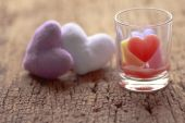 Heart shaped candles - Stock Image — Stock Photo