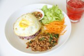 Basil Fried Rice with Minced Pork - Stock Image — Stock Photo