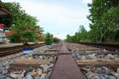 Stock Photo - Old railroad. Metal rails and wooden sleepers — Stock Photo