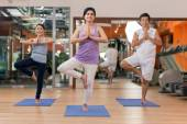 Senior people practicing yoga — Stock fotografie