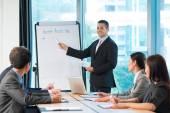 Manager präsentiert business-aktivitäten-plan — Stockfoto