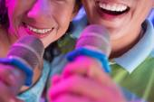 Singing with microphones — Stock Photo