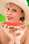 Woman eating fresh watermelon — Foto de Stock