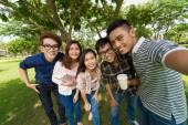 Asian students taking selfie — Zdjęcie stockowe