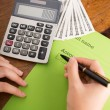 Bookkeeper counting monthly income — Stock Photo #54315101