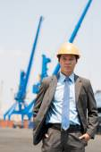 Businessman at freight dock — Stock Photo