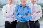 Business lady leading her team — Stock Photo