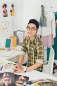 Happy Asian tailor — Stock Photo