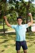 Badminton player celebrating victory — ストック写真